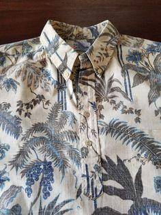134b481e34a3 REYN SPOONER Men s Hawaiian Camp SHIRT Size XL Blue Floral SS Reverse Print  USA!
