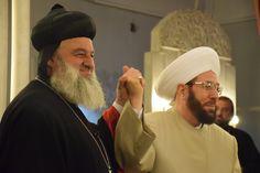 Mor Aphrem II and Great Mufti of Syria Ahmad Badreddin Hassoun at a Syriac Orthodox Church in Damascus for an Interfaith Dialogue liturgy