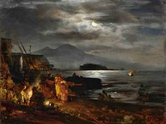 Title: The bay of Naples in the moonlight, Original Size: 24 x 37 cm, Date: Buy this painting as premium quality canvas art print from Modarty Art Gallery Naples, Moonlight Painting, Ancient Art, Beautiful Paintings, Canvas Art Prints, Les Oeuvres, Landscape Paintings, Scenery, Art Gallery