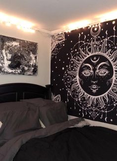 Sun Psychedelic Celestial Tapestry on Mercari Edgy Bedroom, Cute Bedroom Decor, Room Design Bedroom, Room Ideas Bedroom, Aesthetic Bedroom, Chambre Indie, Room Tapestry, Tapestries, Chill Room