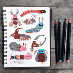 Which bug will you adopt? I'm keeping the little guy with horns so big he can't keep his head up. Monster Book Of Monsters, Monster Art, Elise Gravel, Collages, Moleskine Sketchbook, Sketchbooks, Childrens Wall Art, Pen Sketch, Daily Drawing