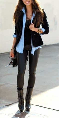 Street fashion: leather leggings, black boots/cardi, colored button-down, black blazer