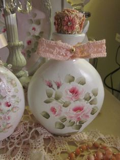 Pretty perfume bottle painted with pink by KarensTatterdRoses, $10.00