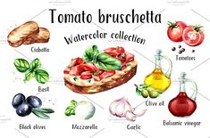 Picture of Tomato bruschetta ingredients. Watercolor hand drawn illustration, isolated on white background stock photo, images and stock photography. Tomato Bruschetta, Caprese Salad, Recipe Drawing, Tomate Mozzarella, Watercolor Food, Good Food, Yummy Food, Cooking Recipes, Vegetarian