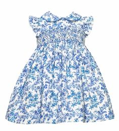 Anavini Infant / Toddler Girls French Blue Floral Toile Smocked Float Dress - Ruffle Sleeves