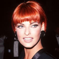 """#LindaEvangelista dyed her hair a brilliant cinnamon shade in '91. """"She's known for taking risks,"""" said her colorist Benjamin Forrest. http://www.instyle.com/instyle/package/transformations/photos/0,,20290121_20439322_20871388,00.html"""