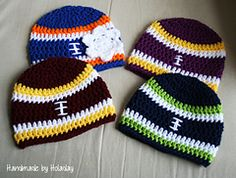 Crochet Football Pattern Free Pattern For Nb Size Handmade Holaday Crochet Football Crochet Football Pattern Crochet Football Earflap Hat Pattern Craftsmake For And With. Crochet Football Pattern Katie Cooks And Crafts Football Coaste. Crochet Football Hat, Crochet Kids Hats, Crochet Cap, Crochet For Boys, Crochet Beanie, Crochet Crafts, Free Crochet, Knitted Hats, Ravelry Crochet
