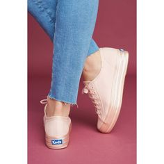 Keds Metallic Platform Sneakers ($58) ❤ liked on Polyvore featuring shoes, sneakers, pink, pink sneakers, platform canvas sneakers, pink platform sneakers, platform canvas shoes and pink shoes