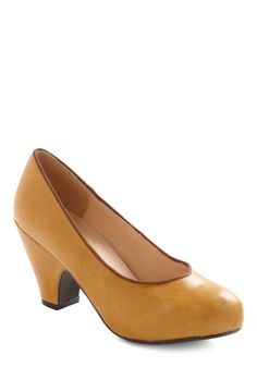 Come On Ochre Heel by Chelsea Crew - Yellow, Brown, Solid, Mid, Leather, Work