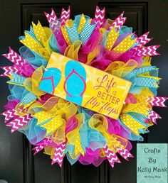37e522592 Bright and Pretty Flipflop Wreath for Spring and Summer. Turquoise Yellow  Pink. Summer Wreath