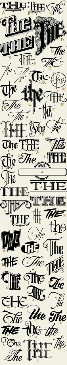 "62 hand drawn ""Thes"" expertly crafted and ready for your designs. Each letter corresponds to a unique and stylish ""The"". Set includes 3 free bonus Thes."