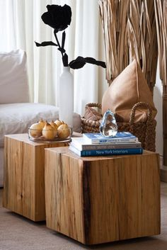 Solidwood Maple cubes for a #reclaimed coffee table. Design by #torontodesigner Jennifer Worts Design