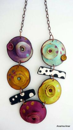 Polymer clay necklace by AnarinaAnar on Etsy I bought this. Very nice. Ceramic Jewelry, Enamel Jewelry, Ceramic Beads, Resin Jewelry, Glass Jewelry, Funky Jewelry, Paper Jewelry, Jewelry Crafts, Jewelry Ideas