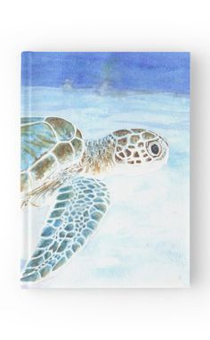 """Sea turtle underwater"" Hardcover Journal by Savousepate on Redbubble #hardcoverjournal #notebook #stationery #watercolor #painting #seaturtle #blue #turquoise #aqua #mint #white"
