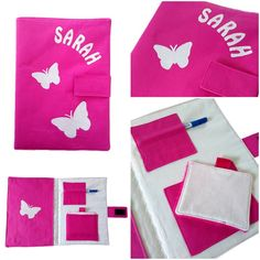 Pochette pour ardoise papillons en coton rose et son éponge. : Ecole et loisirs par mamzellecrea17