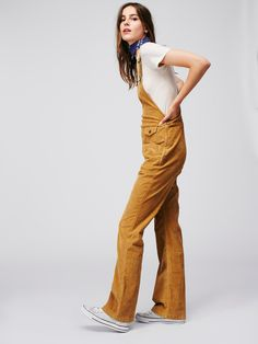 Movin Away Cord Overall   Retro-inspired cord overalls with a high rise and…