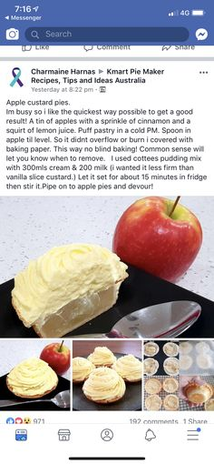 Apple Custard Pie, Sprinkles, Cinnamon, Fruit, Recipes, Food, Canela, Essen, Eten