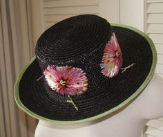 NWOT LULU GUINNESS LONDON STRAW HAT w/ ADORABLE MULTICOLOR FLOWERS Free Shipping #LuluGuinness #WideBrim
