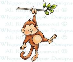 Pull-Up Monkey - Zoo - Animals - Rubber Stamps - Shop