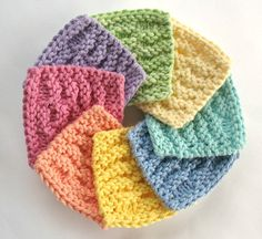 Reusable face scrubbies hand knit of soft cotton yarn. Cute mini facial washcloths, makeup remover pads, or add to a bath and beauty gift Knitted Washcloths, Knit Dishcloth, Knitted Hats, Loom Knitting, Hand Knitting, Knitting Projects, Crochet Projects, Yarn Projects, Knitting Patterns