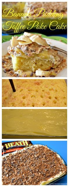 Banana Pudding Poke Cake If You Enjoy Pudding, You Will Love This Banana Pudding Toffee Poke Cake. Quick Easy Desserts, Fun Desserts, Delicious Desserts, Dessert Recipes, Easy Sweets, Poke Cake Recipes, Poke Cakes, Cupcake Cakes, Cupcakes