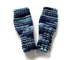 Blue Camo Gloves  Boys Gloves  Kids Fingerless by KnitPeddler