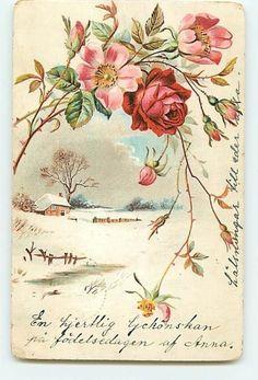 Red Pink Flowers Floral Buds No. Vintage Greeting Cards, Vintage Postcards, Vintage Pictures, Vintage Images, Images Lindas, Etiquette Vintage, Paisley Art, Cottage Art, Decoupage Vintage