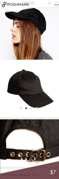 ASOS plain black baseball cap ASOS plain black baseball cap.  Straps are adjustable for a comfortable fit.  Never worn.  Brand new with original bag and cardboard insert. ASOS Accessories Hats