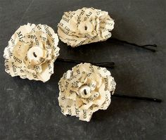 Hair Barrette French Paper Flower by TwoCharming on Etsy