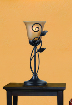 Hunter® Miley Accent Lamp with Oil-Rubbed Bronze Finish, Amber Scavo Glass and leafy vine accents