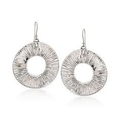 Ross-Simons - Sterling Silver Pleat-Textured Drop Hoop Earrings - #766698