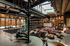 a beautiful house, has a steampunk feel to it with modern convienences and lots of bookshelf spaces