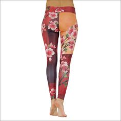 "Product information ""Cherry Blossom"" ""A fresh and springlike design with beautiful cherry blossoms in red and orange colors. Cherry Blossoms, Yoga Pants, Orange Color, Size Chart, Fresh, Colors, Fabric, How To Make, Shopping"