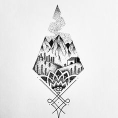 Perfect geometric blended with a meaningful scene, something for my Alaska tattoo