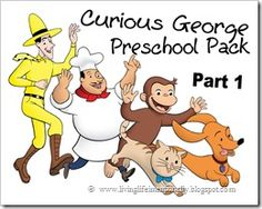 Curious George Preschool Pack - 20 pages of learning for 3-7 years olds. !