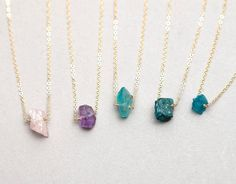 Raw Crystal Necklace // Gold fill or Sterling Chain // Minimal Crystal Necklace // Rough cut Gemstone LN606