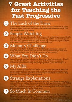 POSTER: 7 Great Activities to Teach the Past Progressive