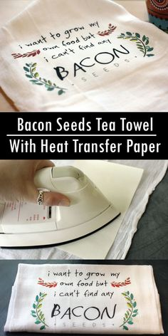 This cute tea towel is a snap to create with heat transfer paper. See the full tutorial here. #transferpaper #DIY #heattransfer #towel #gift