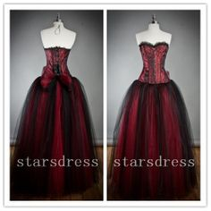 Vintage Wine Red Burgundy Long Gothic Corset Backless Prom Dress Strapless Floor-length Ball Gowns/Evening Dress/Party Dresses