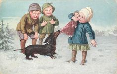daschund tugs at doll that young girl holds, two boys look on
