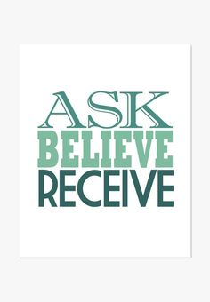 This typographic art print is based on The Secret. What is the secret? Ask -- Believe -- Receive. - Archival full-color print on white matte cover paper - Sizes: 5x7 inches to 24x36 inches. - Shipping