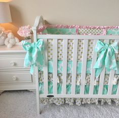 Mint Crib Bumper Pads Gold Dot Crib Bumper by RitzyBabyOriginal