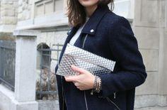 MM6 clutch, The Kooples perfecto coat/ streetstyle