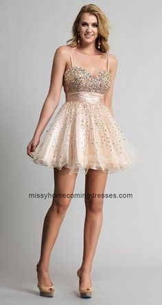 Nude Dave and Johnny 9206 Beaded Graceful Mini Homecoming Dress