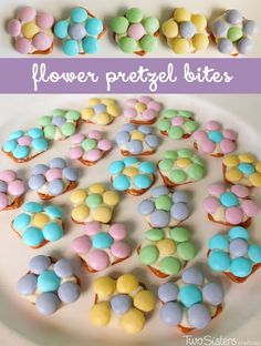Flower Pretzel Bites for a delicious Sweet and Salty snack. What a cute idea for a cute snack! Easter Snacks, Easter Treats, Easter Recipes, Easter Desserts, Easter Food, Easter Stuff, Holiday Desserts, Holiday Treats, Holiday Recipes