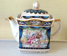 Sadler Teapot, Shakespeare Midsummer Nights Dream, Souvenir,   Sadler porcelain teapot commemorating William Shakespeare, who died 400 years ago. A Midsummer Nights Dream is a perpetual favourite due to its mixture of fantasy and comedy. Shakespeare explores the theme of love in the play. Is it the adoration of beauty or is it something more, true love.  So this teapot carries a marvelous message to the receiver, the gift of happiness as I believe that true love will bring you that. I hope…