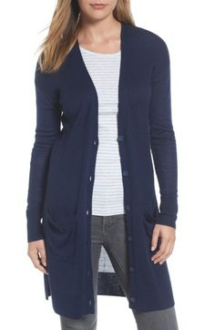 Free shipping and returns on Halogen® Rib Knit Wool Blend Cardigan (Regular & Petite) at Nordstrom.com. Ribbed stitching through the torso enhances the long, slim silhouette of a classic V-neck cardigan eased with drop-shoulder styling. Fine-gauge knit at the bottom half and sleeves creates a pleasing play of textures.