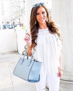 """025d2ddcb0 Jess Lea Boutique on Instagram: """"How gorgeous is #styleblogger  @savillamountain in the Charlotte Ruffle Top?! We love how chic & classy  this top is! $44 ."""