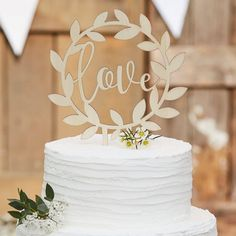 "Rustic Wooden ""Love"" Wedding Cake Topper This lovely wooden Love Cake Topper is the perfect finishing touch for your country wedding cake, Part of our rustic country wedding range, Natural wood finish, Each pack contains one wooden cake topper size: X Costco Wedding Cakes, Country Wedding Cakes, Rustic Wedding Guest Book, Rustic Wedding Inspiration, Love Cake Topper, Wooden Cake Toppers, Personalized Wedding Cake Toppers, Wedding Topper, Cake Wedding"