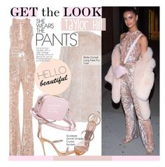 """Get The Look - Taylor Hill"" by kusja ❤ liked on Polyvore featuring Zuhair Murad, Giuseppe Zanotti, Zimmermann, GetTheLook, celebstyle, jumpsuit, modeloffduty and taylorhill"